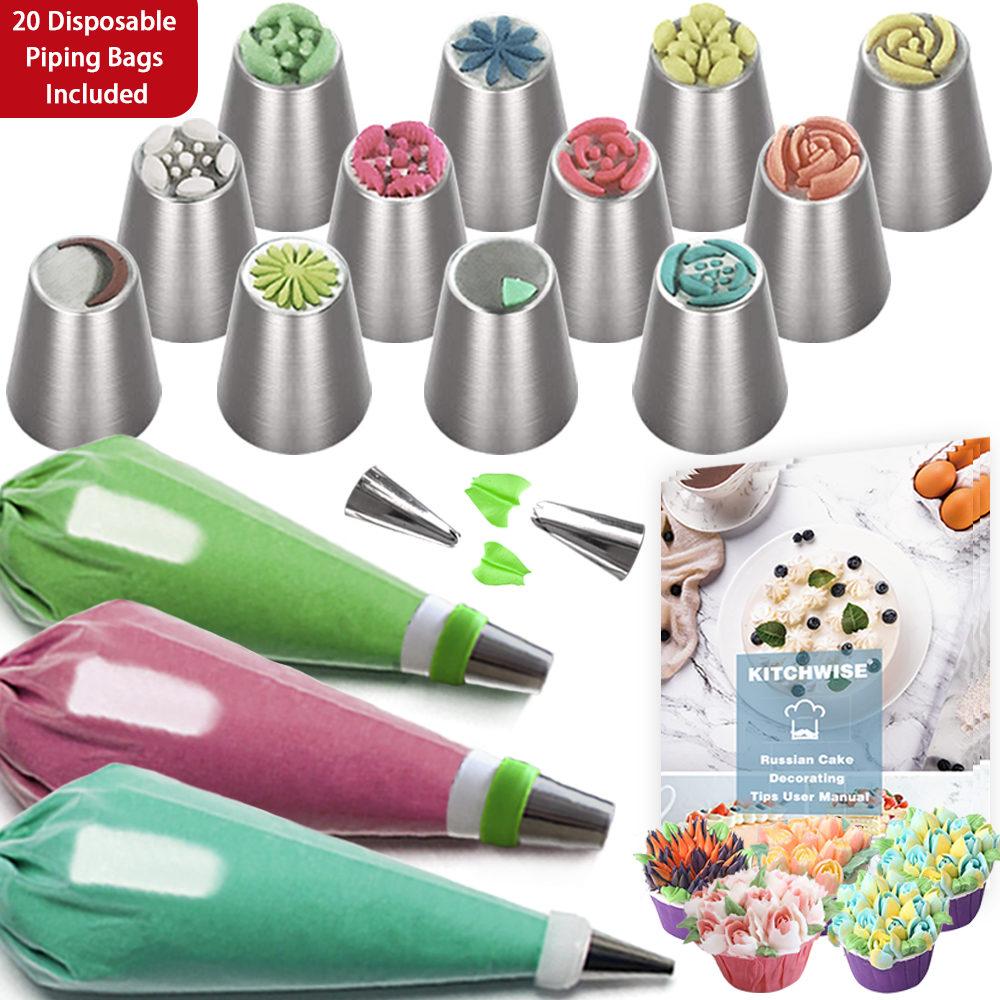 8 Tips Cake Decorating Icing Piping Syringe Nozzles Set Ki W2